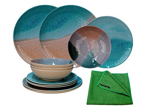 HEKERS Vajilla de 100 % melamina, juego de 12 piezas, para 4 personas, 1 paño de microfibra de Hekers verde, plato de postre, cuenco de sopa, taza de picnic, camping, apto para lavavajillas