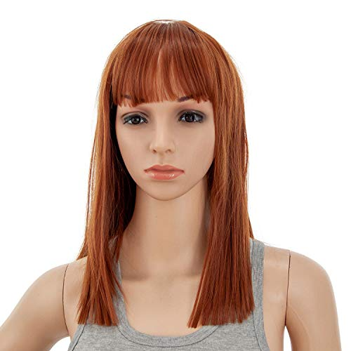 SWACC 14 Inches Short Straight Medium Shoulder Length Wig with Blunt Cut Bangs and Bottom End Synthetic Heat Resistant Hair Wigs for Women with Wig Cap (Dark Copper Red)