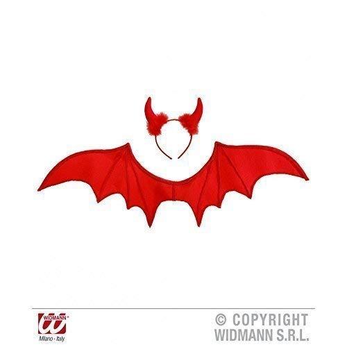 Lively Moments Roter Teufel mit Flügeln und Teufelshörner / Teufelsschwingen / Fasching / Halloween / Teufelskostüm Zubehör