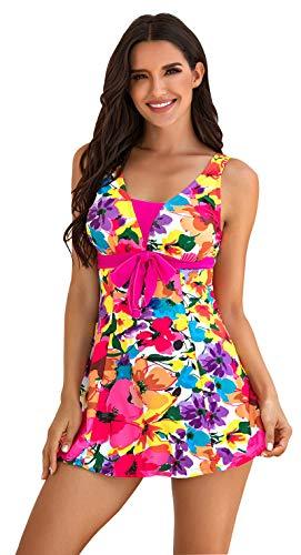 Ecupper Damen Badekleid Blumen Muster Gepolstert Badeanzug mit Shorts Bademode Große Größen. Rosa Etikett M