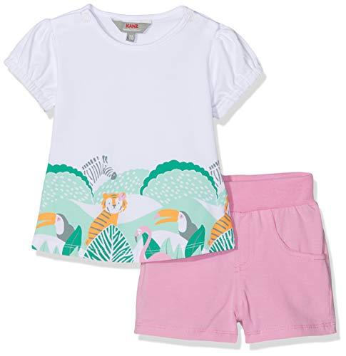 Kanz Baby-Mädchen Set 2tlg. (T-Shirt 1/8 Arm + Shorts) Bekleidungsset, Weiß (Bright White|White 1000), 62