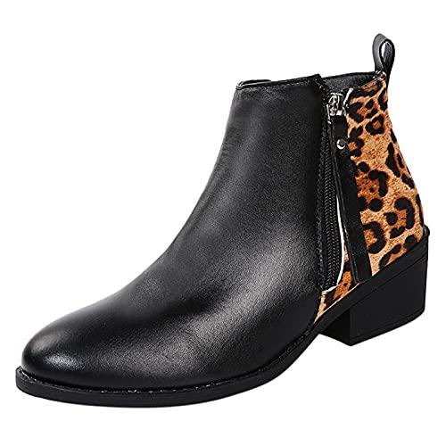 Xiand Boots Stiefeletten Damen Cowboy Stiefel Plateau Absatz Kurzschaft Boot Kurz Schlupfstiefel Vintage Biker Booties Freizeit westernstiefel Modische mit Blockabsatz Knöchel Stiefel