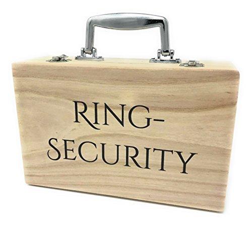 Katinga - Maletín de madera con texto «Ring Security», perfecto para las alianzas o el cojín de alianzas en una boda