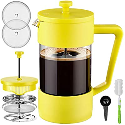 Veken French Press Coffee & Tea Maker 34oz, Thickened Borosilicate Glass Coffee Press with 3 Filter Screens, Rust-Free and Dishwasher Safe, 100% BPA Free, Yellow