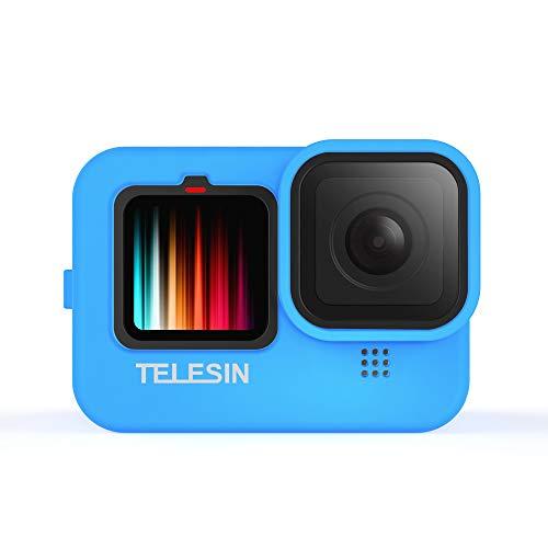 TELESIN Silikonhülle für GoPro Hero 9 Black,Hero 9 Hülle & Kordelzug mit Objektivdeckel (blau)