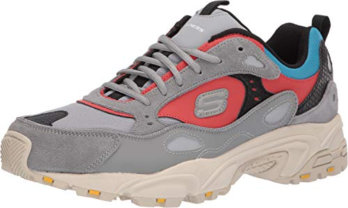 Skechers Men's STAMINA- CONTIC Trainers, Grey (Gray & Red Gray Leather/Pu/Blue Mesh/Black Trim Gymt), 9 (43 EU)