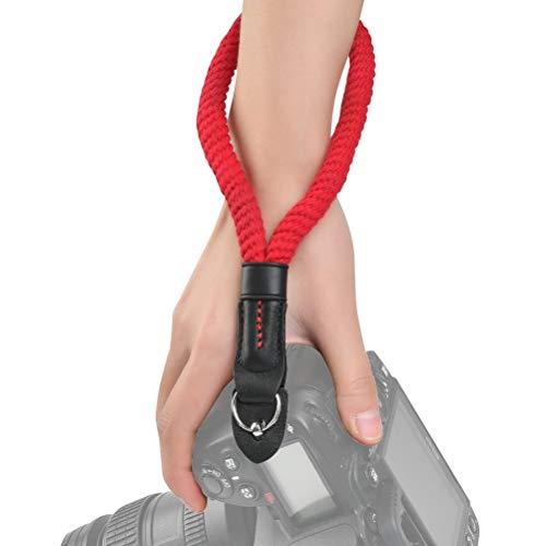 OFNMY Kamera Gurt Baumwoll 23m   Kamera Handschlaufe Kameraseil Verstellbarer Kamera Handgriff aus Baumwolle für Digitalkameras kleinen Kamera(Rot)
