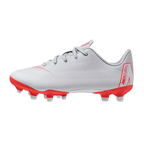 Nike Jungen Unisex Kinder Jr. Mercurial Vapor XII Academy FG/MG Futsalschuhe, Mehrfarbig (Wolf Grey/Lt Crimson-Pure Platinum 060), 27.5 EU