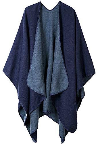Shmily Girl Femme Cape Poncho Extra Large écharpe Châle Blanket Poncho Automne Hiver (One Size, Bleu Marine 2)