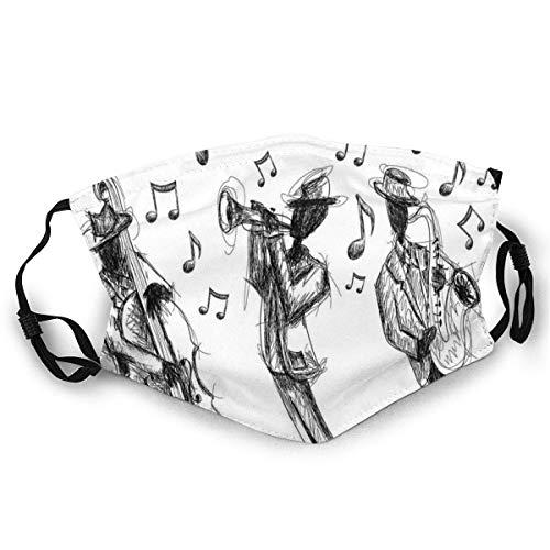 Waschbarer Skizzenstil Einer Jazzband, die Musik mit Instrumenten und Musiknoten spielt Unisex-Gesichtsbedeckung drucken