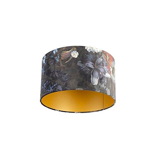 QAZQA Classique/Antique Coton Abat-jour velours motif floral 35/35/20 doré à l'intérieur, Rond/Cylindrique Abat-jour Suspendu,Abat-jour Lampadaire