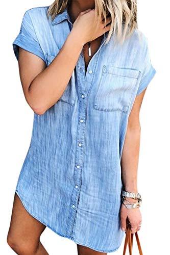 Vestidos Camisero de Denim para Mujer De Manga Corta Borlas Jeans Vestido Casual con Botones Azul L