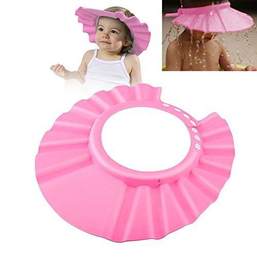 Adjustable Baby Kids Shampoo Bath Bathing Shower Cap Hat Wash Hair Shield (Pink)