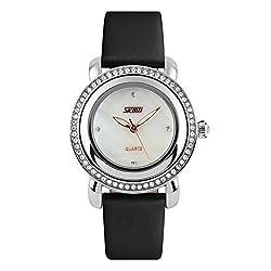 Simple Temperament Waterproof Quartz Black Watche With Rhinestones