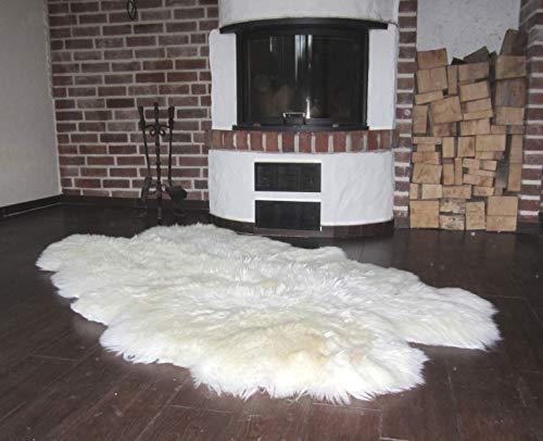 Felltrade echter Natur Öko Schaffellteppich Fellteppich weiß (aus 4 Fellen)