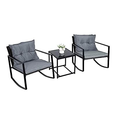 YOURLITE 3 Pieces Patio Furniture Set, Rocking Wicker Bistro Sets Outdoor Rocking Chair Porch PE Rattan Wicker Patio Chair Garden Conversation Sets with Coffee Table Blue Cushions (Grey)