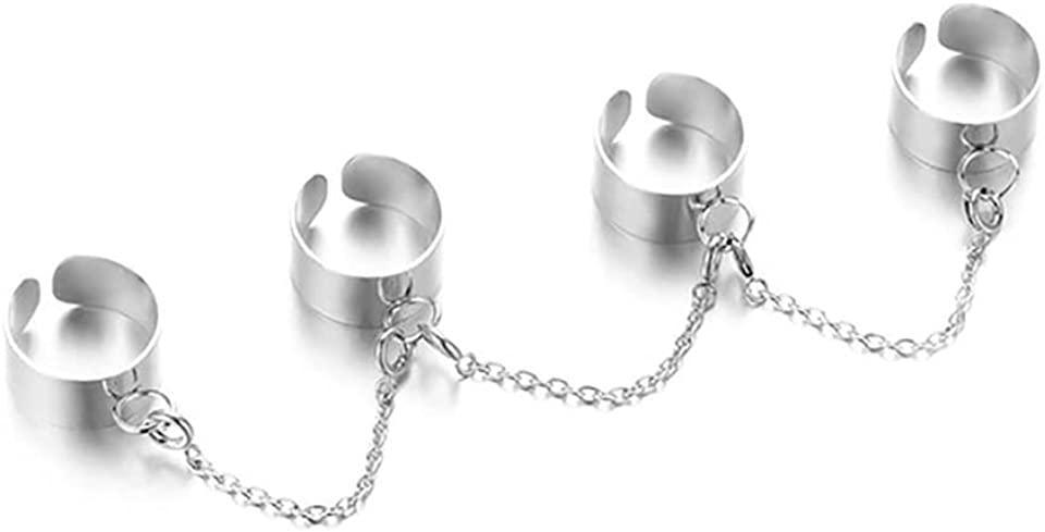 INENIMARTJ Chain Rings for Women Men Giris, Vintage Punk Stackable Statement Adjustable Open Silver Rings