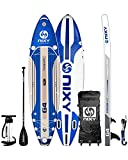 """NIXY Newport Paddle Board All Around Inflatable SUP 10'6' x 33"""" x 6"""" Ultra-Light Stand Up Paddleboard Built with Dual Layer Woven Drop Stitch Includes Carbon Hybrid Paddle, Pump, Bag & More (Blue)"""