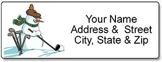 Golfing Snowman Address Label - Christmas Customized Return Address Label - 90 Golf Labels