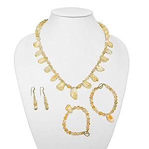 Handmade One of a Kind Citrine Gemstones Necklace, 2 Bracelets and Dangle Earrings