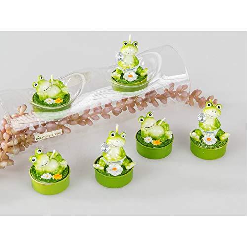 formano 6er Set Teelichter Frosch Teelicht Frösche witzige Dekoidee Kerze Dekoration