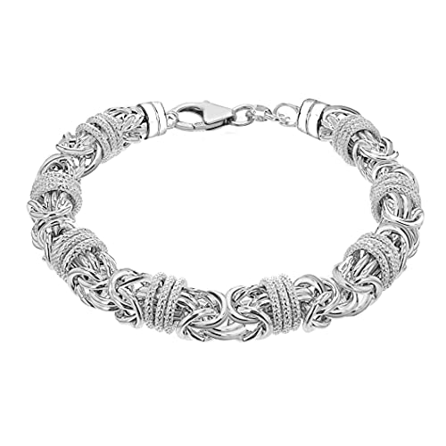 Tuscany Silver Unisex Sterling Silver Chunky Byzantine and Rings Bracelet of Length 21cm21