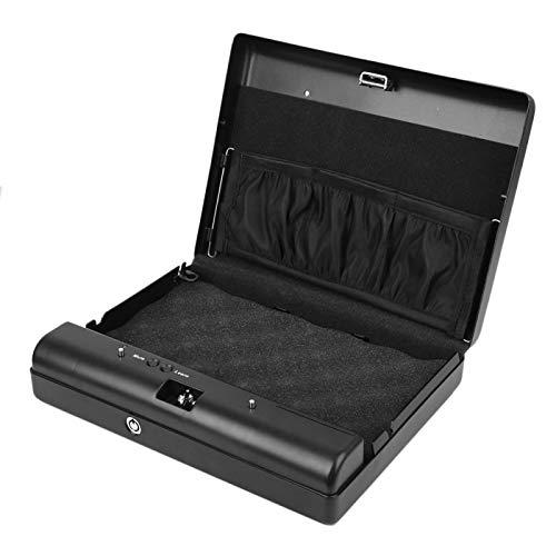 Caja Fuerte con Cerradura con Llave de Acero Inoxidable, Mini Caja Fuerte con Huella Dactilar para Coche con 120 usuarios