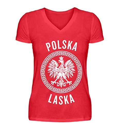 Hochwertiges V-Neck Damenshirt - Polen Frauen Trikot Emblem Adler Wappen Fahne Polnische Flagge Polska Laska Geschenk