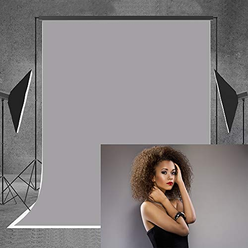Allenjoy 5x7ft Solid Grey Photography Soft Fabric Backdrop Portrait Headshots Product Family Background Photo Booth Video Studio Photoshoot Photocall Photographer Props