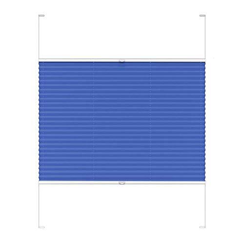 Victoria M. COSIFLOR Plissee auf Maß VS2 für Fenster und Türen, 301-400 mm Breite x 601-700 mm Höhe, Blau, Montage in der Glasleiste mit Spannschuh