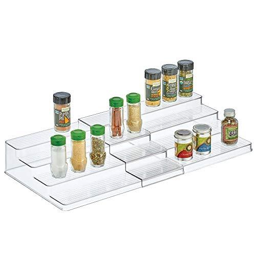 mDesign Estantería para especias para muebles de cocina – Estante especiero extensible para mantener el orden en la cocina – Práctico mueble para especias en plástico con 4 niveles – transparente