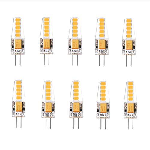 WIKIDOO Bombilla LED G4, 2 W, 10 SMD 2835, sustituye a 20 W halógenos, 170 lm, AC/DC 12 V, blanco cálido, blanco frío, inastillable [clase energética A+] 10 piezas (color: blanco cálido)