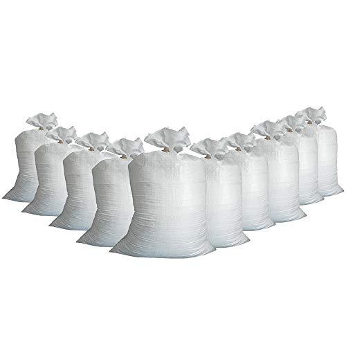 10x Hochwasser Sandsäcke Beutel mit Band Befestigungsband (40x60cm) PP THW Feuerwehr Hochwassersäcke Sandsack Verschließbar