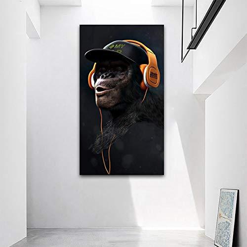 Kunst Gorilla Weisheit AFFE Schimpansen Kopfhörer Poster Tierbild Leinwand Malerei Wohnzimmer Dekoration Bild Wandbild rahmenlose Malerei 60x100cm