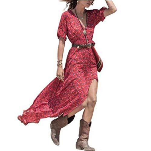 haoricu Women Dress, Women Boho Summer Chiffon Floral Beach Long Maxi Dress (L, Red)