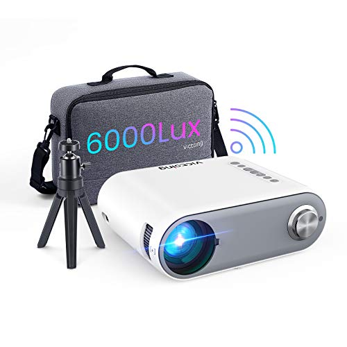 Mini Outdoor Projector, VicTsing WiFi Portable Projector for iPhone 6000L, Native 1280x720P Video Projector Home Movie Projector Compatible with Type C/AV/USB/HDMI/VGA/Phone/PS4 [Bag Tripod Included]
