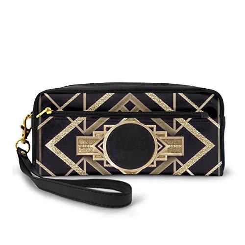 Federmappe Art Deco Vintage 1920 Era The Great Gatsby Gold Schwarz Muster Stifttasche Make-up Tasche Brieftasche Große Kapazität Tragbare Make-up Taschen Make-up Organizer für Studenten oder Frauen