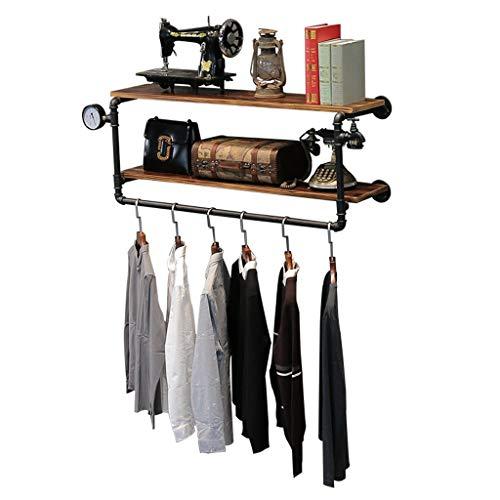 LING AI DA MAI Vintage ijzeren buis kapstok massief hout combinatie muur haak hanger, geschikt voor woon/slaapkamer/studie/kleding winkel zwart (110 * 23cm)