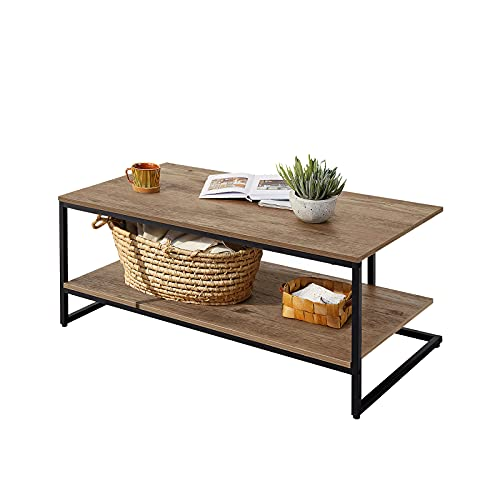 LINSY HOME 2-Tier Coffee Table, π Design Wooden Rectangular Sofa Table with Storage Shelf Adjustable Feet for Living Room