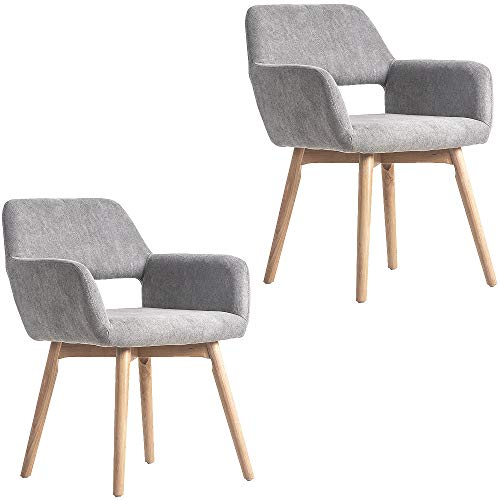 WisHom Set of 2 Living Room Chairs Fabric Small Accent Upholstered Side Seat Club Guest with Nature Solid Wood Legs (2, Grey)