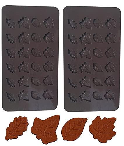 Marijuana Leaf Silicone Chocolate Mold Set By Garloy,2 Pcs 24-Cavity Cannabis Fondant Candy Molds.Non-Stick Food Grade Silicone Molds For Chocolate, Candy, Jelly