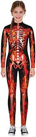 Tsyllyp Girls Boys Skull Skeleton Bone Print Bodysuits Costume Stretch Skinny Catsuit Overall product image