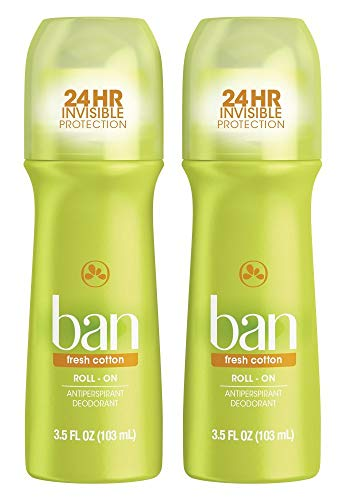 Ban Fresh Cotton 24-hour Invisible Antiperspirant, 3.5oz Roll-on Deodorant, 2-pack, Underarm Wetness Protection, with Odor-fighting Ingredients