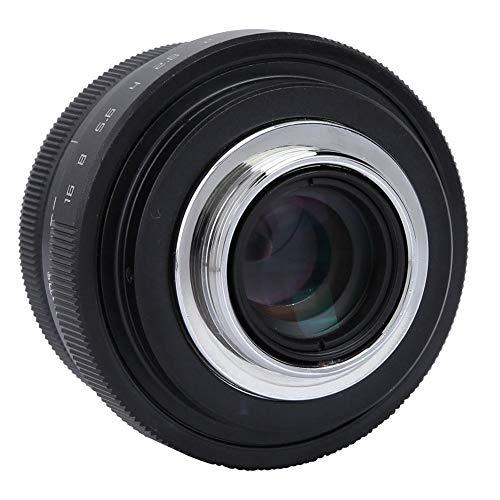Pomya Lente Gran Angular de 25 mm, Lente Gran Angular F1.8 Mini CCTV con Montura C para cámaras Sony Nikon Canon DSLR(Negro)
