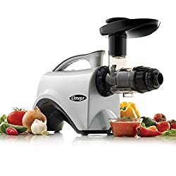 Omega Juicer NC800HDS Juicer Extractor and Nutrition Center Creates Fruit Vegetable and Wheatgrass Juice Quiet Motor Slow Masticating Dual-Stage Extr, 150-Watt, Silver