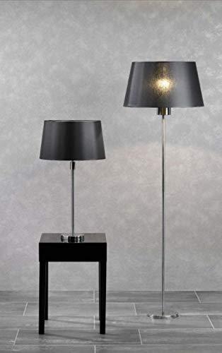 Kaheku Tischlampe Caracas Edelstahl mit Lampenschirm Silber Schwarz H 45 cm