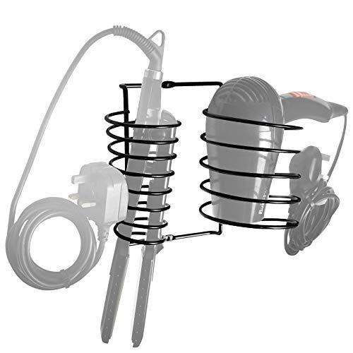 Pukkr Soporte de Plancha y secador de Pelo | Soporte de Metal montado en la Pared con Cable ordenado | Espiral Resistente al Calor | Negro