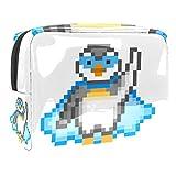 Bolsa de maquillaje portátil con cremallera bolsa de aseo de viaje para las mujeres práctico almacenamiento cosmético bolsa superhéroe pingüino