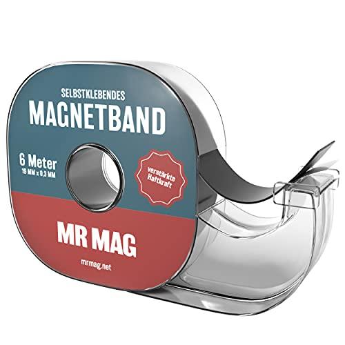 MrMag® Premium Magnetband im Spender | selbstklebend | 6m | verstärkte Klebe- & Magnetkraft für leichte Gegenstände