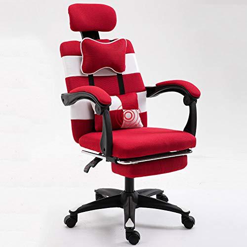 Bewinch - Sillas de videojuegos, con almohada lumbar de masaje y sillas de oficina giratorias ergonómicas para juegos de ordenador, silla de carreras apta para el hogar, oficina, estudio, C